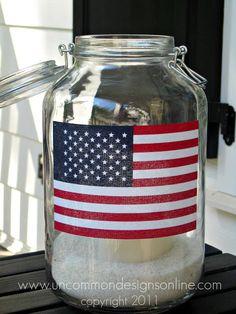 juli flag, mason jars, flag mason
