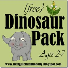 Free dinosaur themed early learning pack with 40 pages of educational fun worksheets for kids 2-7 years old.