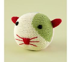 crocheted rattle ball crochet rattl, cat craft, toy, kiddi gear, cat rattl, rotund rattler, rattl ball