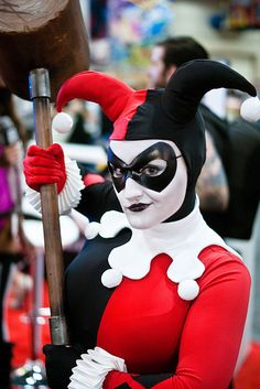 Harley Quinn cosplay by Castle Corsetry. Supermask leather mask by Ravenwood Masks. Photo by SDoorly