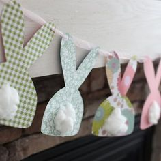20 DIY Easter Decor Ideas - This bunny garland is so cute.