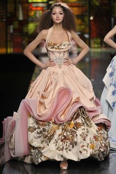 Galliano for Dior Pink Ruffles and Floral Flounces