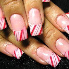 Christmas peppermint nail idea
