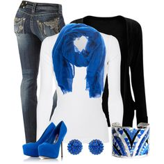 Casual Outfit Ideas | Black and Blue | Fashionista Trends