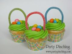 holiday ideas, food, basket cupcak, easter cupcakes, jelly beans, easter bunny, easter treats, parti, easter basket