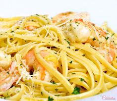Linguine with Shrimp, Garlic & Parmigiano - an easy, quick dinner for a special occasion or dinner party! At Little Miss Celebration
