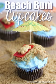 Oh my GOSH! These Cupcakes are SO CUTE! Adorable and Super Fun  Beach Bum Cupcakes! My 6 year old just saw this Pin and wants to make these cupcakes RIGHT NOW! LOL Her only additon would be to add little frosted swimsuits on the Teddy Bears, which I think would REALLY cute! I LOVE the little Bear Swimming in the Blue Raspberry Icing #Beach_Bum_Cupcakes #Beach_Bum #Beach  #Kids #Desserts #Teddy_Bears #Cupcakes #Summer_Fun #Food #Ideas
