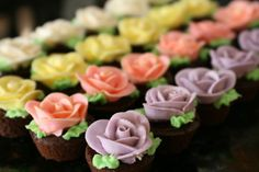 chocolate cupcakes with rose icing