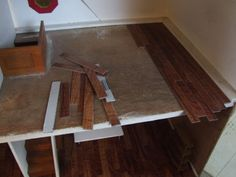 Dollhouse flooring from peel and stick tile