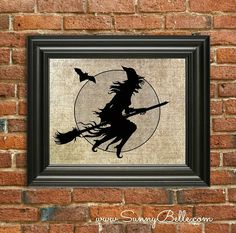 Burlap Paper Vintage Style Print  Witch by SunnyBelleDesigns, $9.00