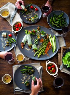 Holiday Tapas and Asparagus Bacon Spring Rolls by @Todd Perry & Diane (White On Rice Couple)