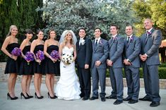 wedding party-- black lace bridesmaids dresses, gray suits with groom in black and pink flowers Black Lace, Wedding Parties, Southern California, Grey Wedding, Grey Suits, Purple Flowers, Black Bridesmaid Dresses, Bridal Parties, California Wedding