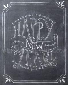 Happy New Year Chalkboard Printable Print  by LittleRedWindow