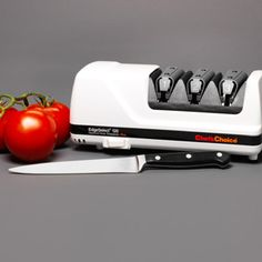 """Carving the holiday meal will be a lot easier with sharper knives. We like this electric sharpening model because it uses diamond-particle disks to make 20-degree bevels on an edge so that it curves outward like a Gothic arch; the disks also create micro-grooves for more """"bite."""" A second, gentler set of disks hones; a third set polishes for even smoother cutting. Chef's Choice, about $150 from amazon.com 