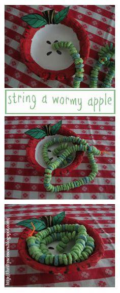 Thrifty Scissors: String a Wormy Apple Craft