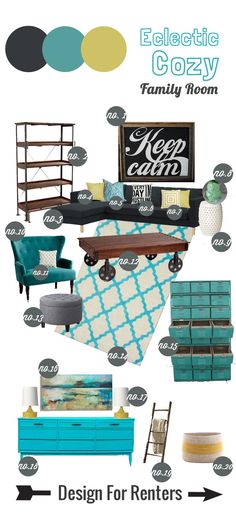Design for Renters: Mood Board-- Eclectic Cozy Family Room>>>> #teal #aqua #green #Grey #Ikeacouch #lockers #familyroom #eclectic #cozy