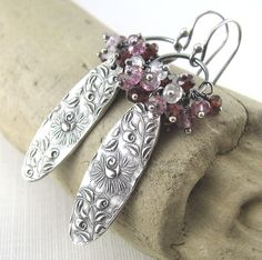 Valentine Jewelry Silver Gemstone Cluster Earrings Earrings Spring Fashion Handmade Jewelry - Climbing Roses OOAK. $118.00, via Etsy.