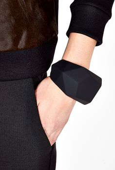 Black Rubber Rock Cuff by Marc by Marc Jacobs