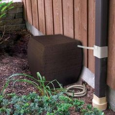 RESCUE 48 gal. WaterBoy Brown Wicker Rain Collector with Diverter System-2500-1 at The Home Depot