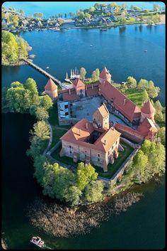 Aerial view of Trakai Island Castle  on Lake Galve, Lithuania