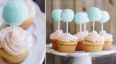 cotton candy cupcakes - yep, those are little balls of cotton candy NOT cake pops - would be great for a vintage circus inspired party!! SO cute!