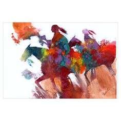 Abstract Native Americans on Horseback Print Poster. #red #blue #native #abstract #art #poster art posters, print poster