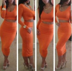 Orange Cropped Top and High Waist Skirt