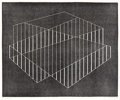 Fenced, 1944 Linoleum cut Josef Albers