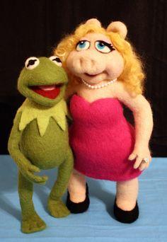 Kermit the Frog Needle Felted Art Doll by Woolington Lane