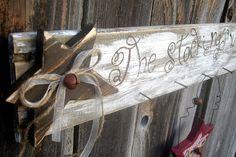 Rustic looking stocking hanger