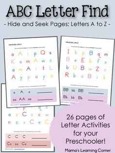 ABC Hide and Seek Letter Find activity for preschoolers, including letters A to Z.