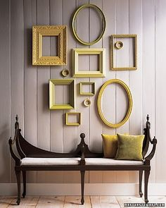Different sized and geometric frames in the same color is another cool idea for DIY headboards