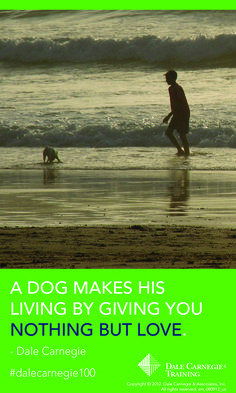 """""""A dog makes his living by giving you nothing but love."""" - Dale CArnegie"""