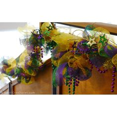 Purple Green and Gold Stars & Sequin Loop Spray: so cute for Mardi Gras garlands, wreaths, and floral arrangements and decor!