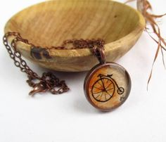 Penny Farthing Bicycle original tiny art copper necklace $28