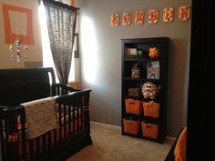 Boy Gray and Orange Nursery Bookshelf