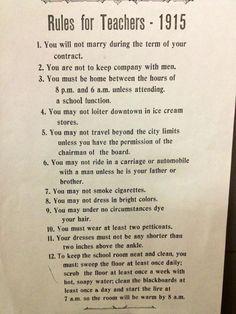Rules for Teachers - 1915