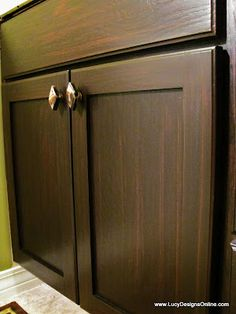 Refinish Cabinets without the Refinish Hassle by using Gel Stain and lightly sanding.
