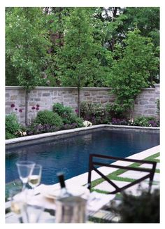 Wall with trees-- but with more space around the pool.