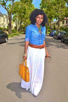 Denim shirt, white maxi skirt! Love it!