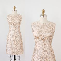Gold Floral Embroidery and Rose Applique Wiggle Dress.