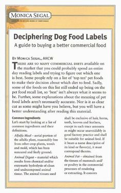 Deciphering Dog Food Labels - a guide to buying a better commercial food by Monica Segal. $5.95. 22 pages. Publisher: Dogwise Publishing (October 10, 2008)