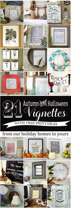 21 Free Fall & Halloween Printables and Vignette Ideas #freeprintables #homedecor #halloween #fall #autumn
