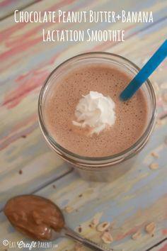 Chocolate Peanut Butter Banana Lactation Smoothie #breastfeeding