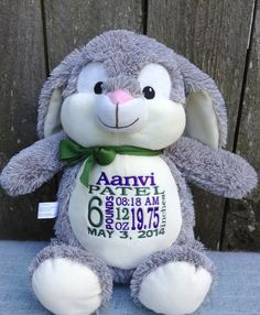 Personalized Baby Gift Monogrammed Bunny by WorldClassEmbroidery, $41.99