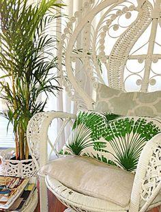 peacock chair + palm print pillow