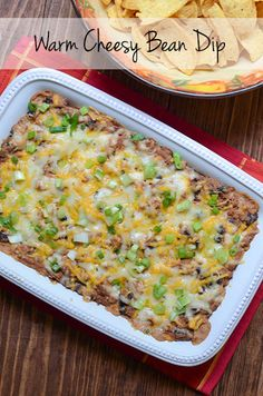 Warm Cheesy Bean Dip #cincodemayo #gameday #appetizer