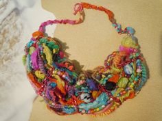 Key West colors art yarn necklace by 57cooncat on Etsy