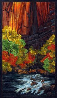 Sinewave Falls--a wonderful landscape quilt by Sue Gilgen