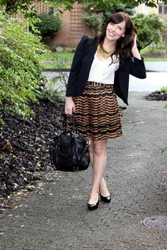Summer Professional Outfit Inspiration - Black Blazer, Statement Necklace, Printed Skirt and Black Pumps!